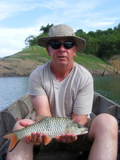 hampala barb (jungle perch) fishing at Khao Laem Dam Thailand