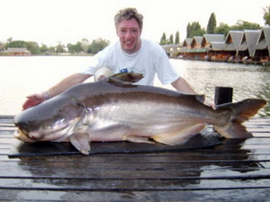 Myles Tommy with another huge Mekong catfish from Bungsamran Lake Bangkok