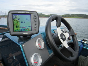 The onboard Fish finder \ echo sounder assists with locating shoals of Indain carp