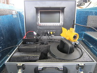 Underwater video camera wired to an onboard TV screen to show fish, snags & lake bed