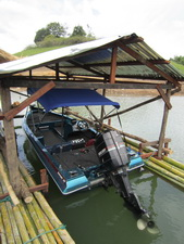 The 'Fish Thailand Explorer' in its' custom made house on Khao Laem Dam